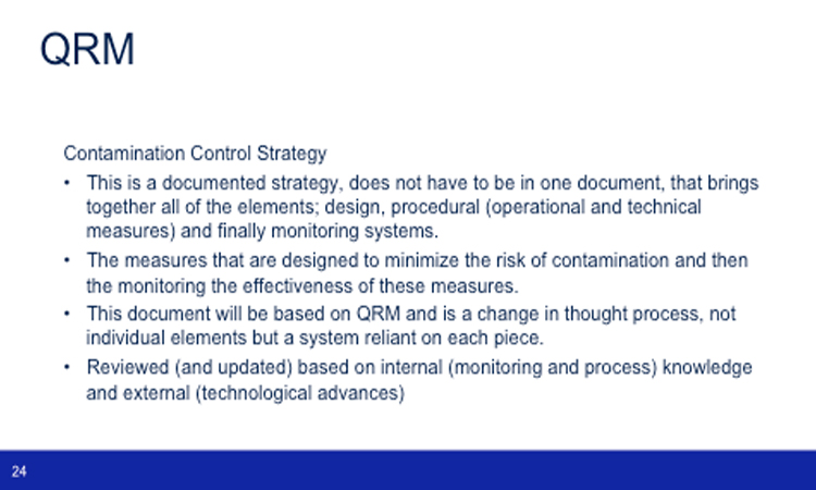 Contamination Control Strategy