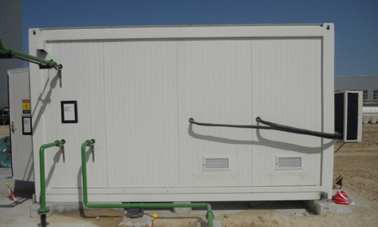 Mobile water treatment in an ISO container; outside view.