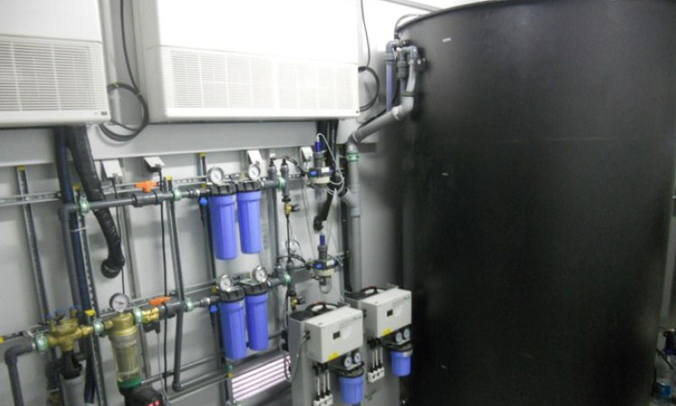 Mobile water treatment in an ISO container; inside view.
