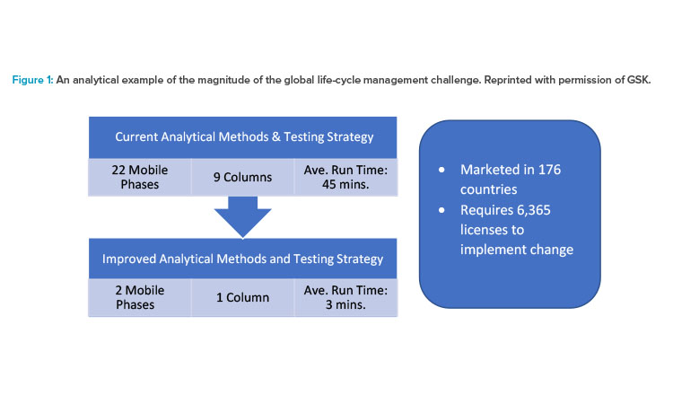 An analytical example of the magnitude of the global life-cycle management challenge. Reprinted with permission of GSK.