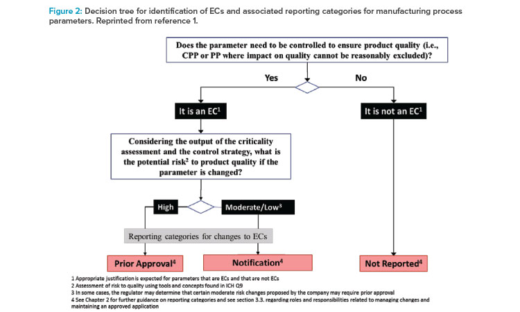 Decision tree for identifi cation of ECs and associated reporting categories for manufacturing process parameters. Reprinted from reference 1.