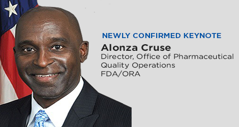 Keynote speaker for the 2020 ISPE Aseptic Conference, Alonza Cruse, Director, Office of Pharmaceutical Quality Operations, FDA/ORA