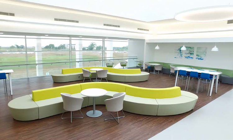 Open area meeting space within the LOC Building - Bristol-Myers Squibb