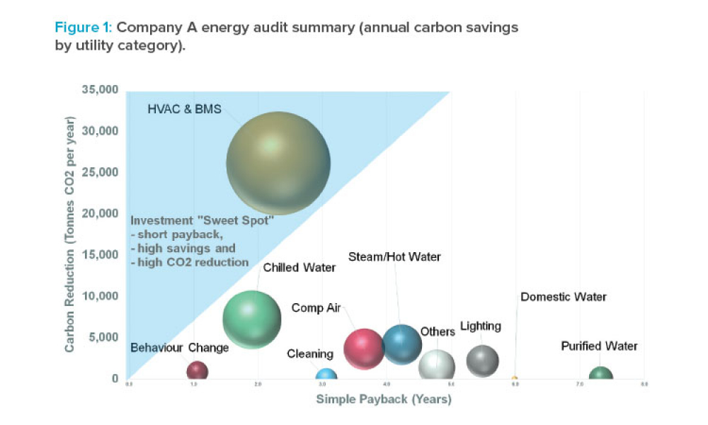 Company A energy audit summary (annual carbon savings by utility category).